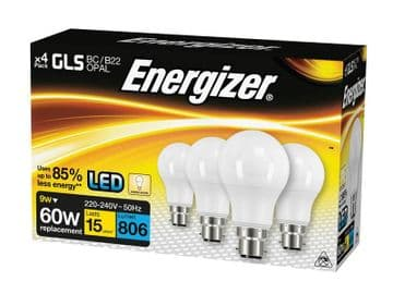 LED BC (B22) Opal GLS Non-Dimmable Bulb, Warm White 806 lm 9.2W (Pack 4)